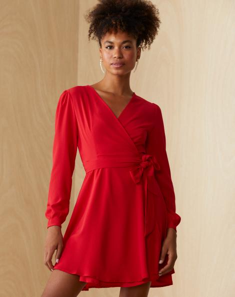 Amaro Feminino Vestido Transpasse Essential, Vermelho