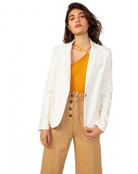Amaro Feminino Blazer Fit Cotton, Bege