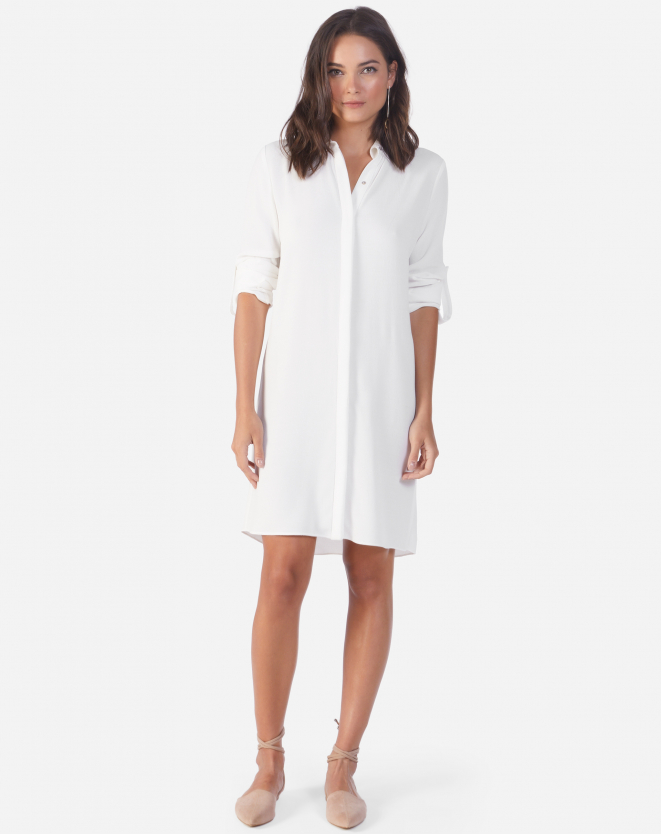 VESTIDO CHEMISE VISCOSE OFF-WHITE