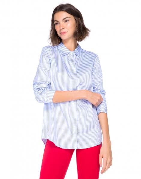 Amaro Feminino Camisa Elegance Essential, Azul