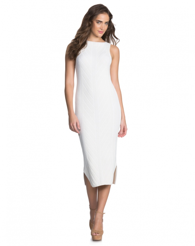 VESTIDO KNITTED CHEVRON OFF-WHITE