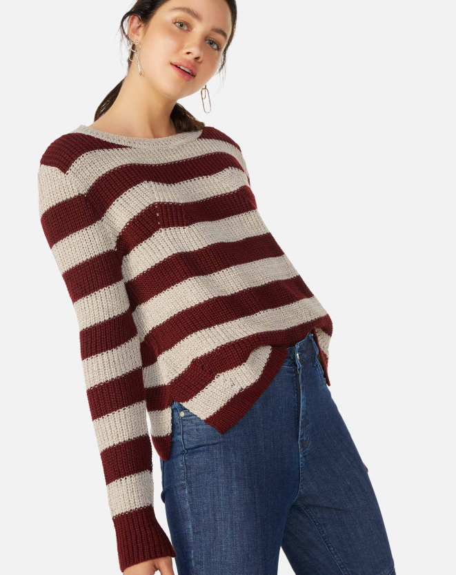 SUETER TRICOT STRIPES BURGUNDY