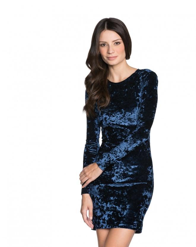 Vestido Azul Veludo