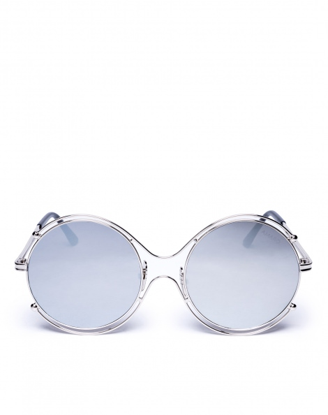 Amaro Feminino Óculos De Sol Round, Prateado