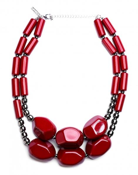 Amaro Feminino Colar Maxi Pedras, Vermelho
