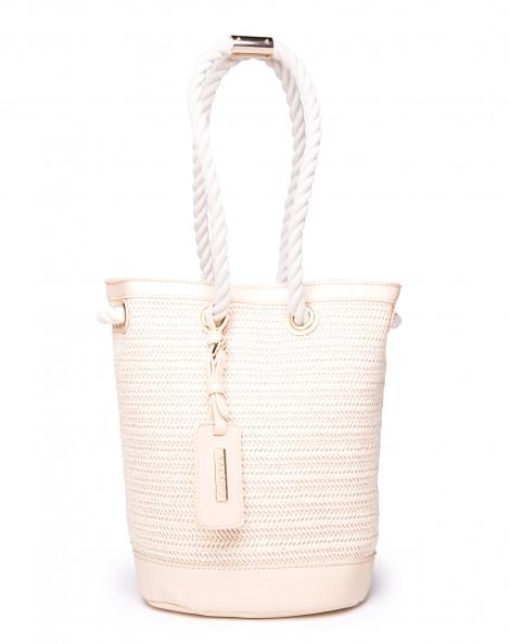 Amaro Feminino Bolsa Bucket De Palha, Branco