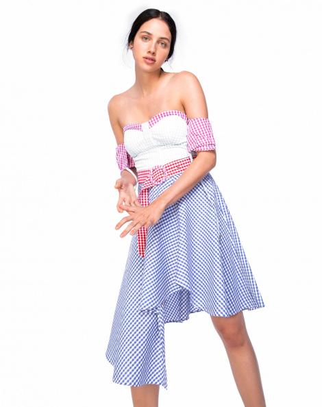 Amaro Feminino Vestido Camisaria Xadrez Vichy, Azul