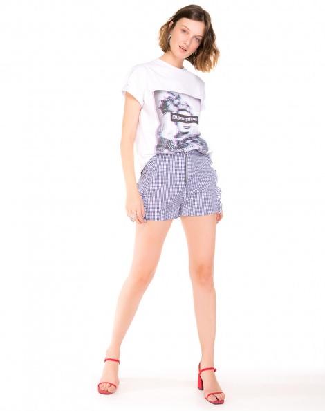 Amaro Feminino Shorts Curto Xadrez, Azul