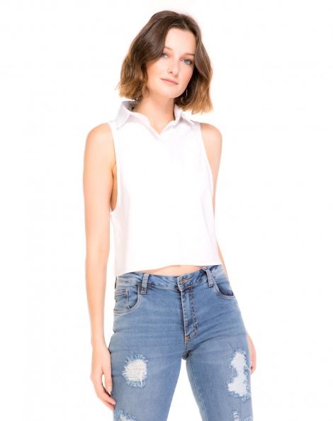 Amaro Feminino Camisa Vichy Xadrez, Branco