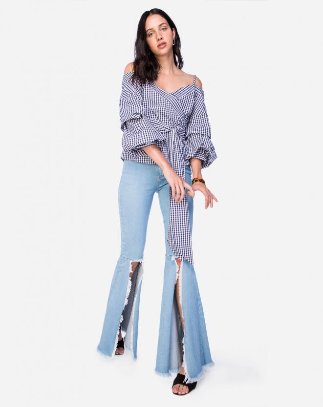 Calça Jeans Flare Abertura