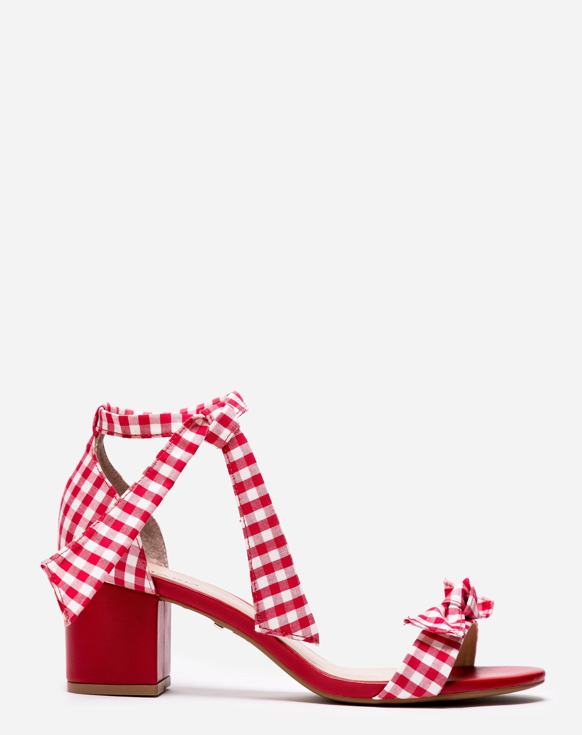 Sandália Xadrez Vichy Vermelha