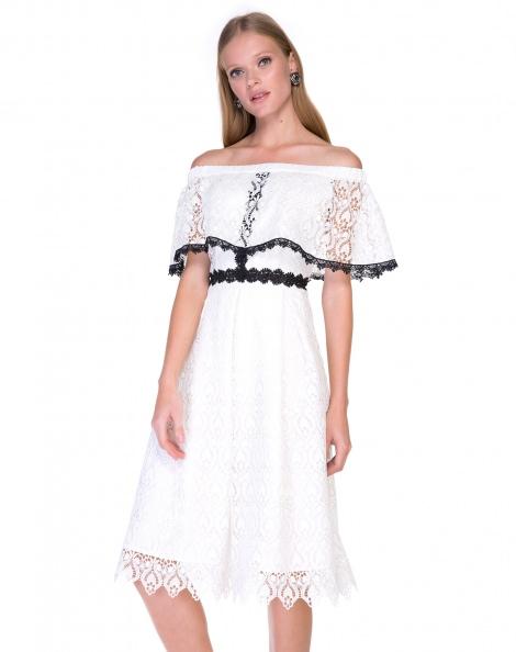 Amaro Feminino Vestido De Renda Guipir, Branco