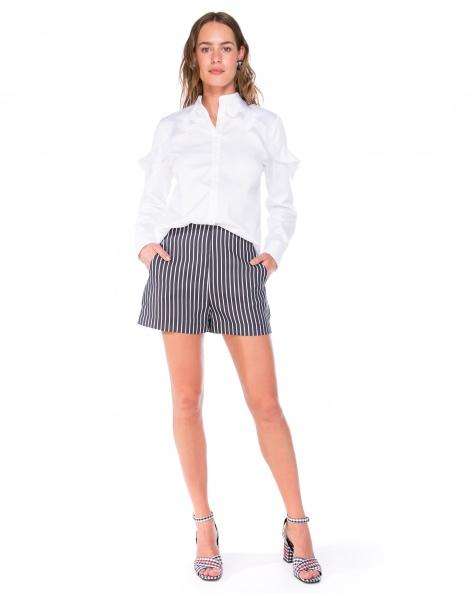 Amaro Feminino Shorts Crepe Estampado, Preto