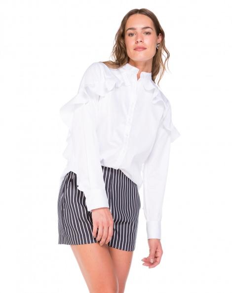 Amaro Feminino Camisa De Algodão Com Babados, Branco