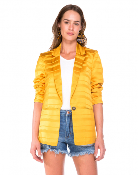 Amaro Feminino Blazer De Alfaiataria, Amarelo