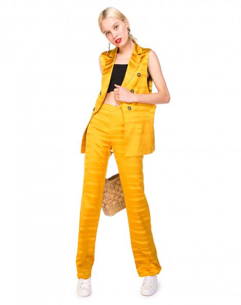 Amaro Feminino Calça Reta Alfaiataria, Amarelo