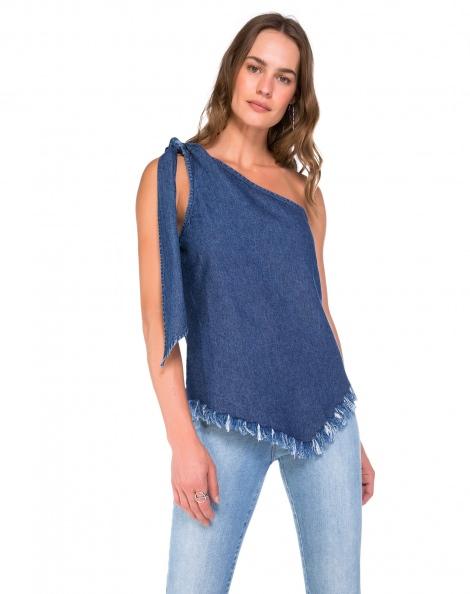 Amaro Feminino Blusa Jeans Com Laço, Azul