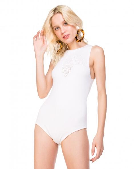 Amaro Feminino Body De Tricot Vazado, Branco