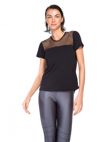 Amaro Feminino T-Shirt Recorte Mesh Ombro, Preto