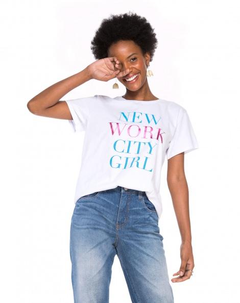 Amaro Feminino T-Shirt New Work City Girl, Branco