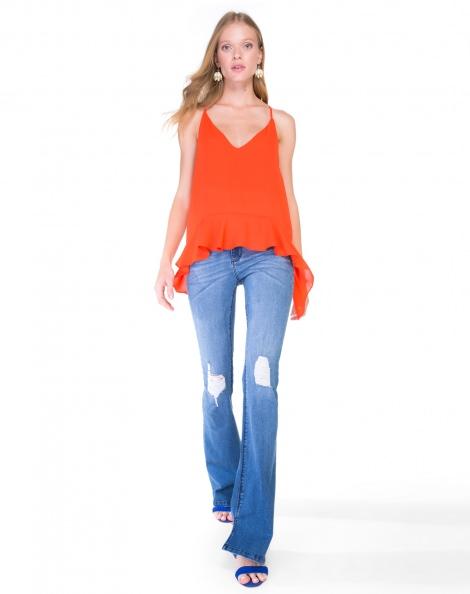Amaro Feminino Calça Jeans Flare Rasgos, Azul