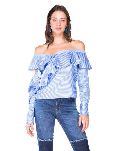 Amaro Feminino Camisa Assimétrica Babados, Azul