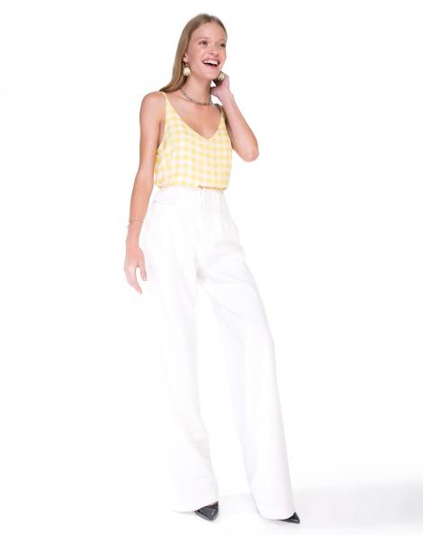 Amaro Feminino Calça Pantalona De Alfaiataria, Branco
