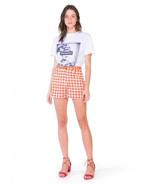Amaro Feminino Shorts Xadrez Vichy, Laranja