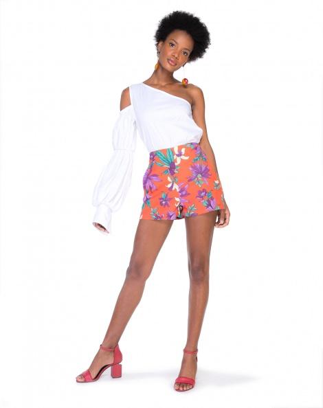 Amaro Feminino Shorts De Alfaiataria Estampa, Laranja