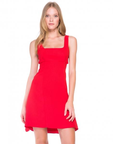 Amaro Feminino Vestido Evasê De Alfaiataria, Vermelho