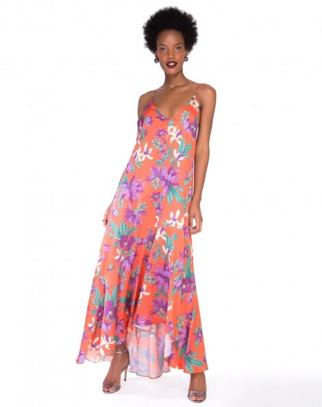 Amaro Feminino Vestido Maxi Decote V, Laranja