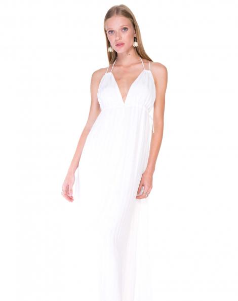 Amaro Feminino Vestido Longo Decote V, Branco