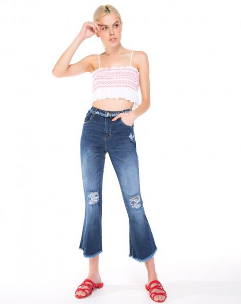 Amaro Feminino Calça Jeans Flare Cropped Detalhes, Azul