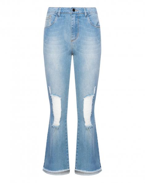 Amaro Feminino Calça Jeans Flare Cropped Puídos, Azul