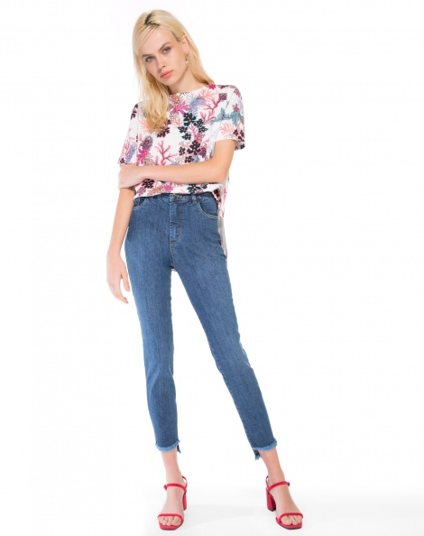 Amaro Feminino Calça Jeans Slim Barra Assimétrica, Azul