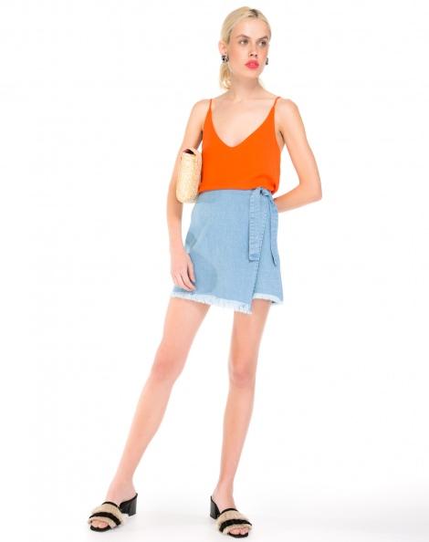 Amaro Feminino Saia Jeans Transpassada Amarração, Azul