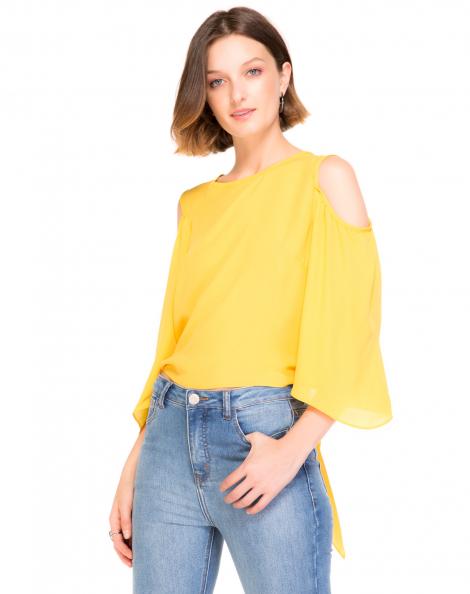 Amaro Feminino Blusa Crepe Com Amarração Traseira, Amarelo