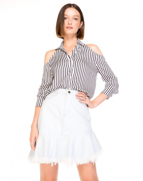 Amaro Feminino Camisa Frente Única Estampada, Branco