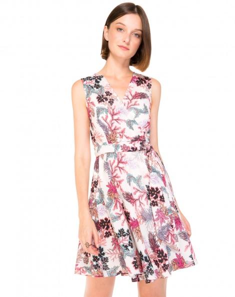 Amaro Feminino Vestido Transpassado Estampado, Rosa