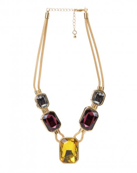 Amaro Feminino Colar Maxi Pedras Colorido, Dourado