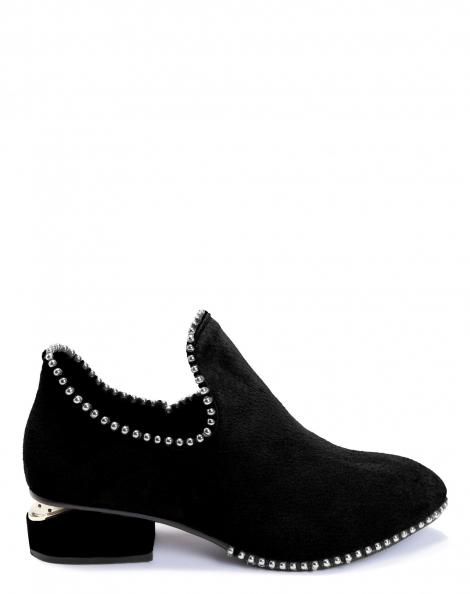 Amaro Feminino Ankle Boot Couro Metais, Preto