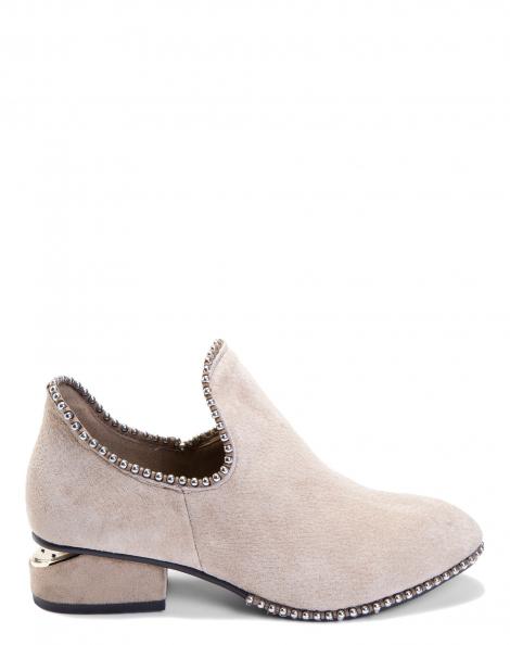 Amaro Feminino Ankle Boot Couro Metais, Bege
