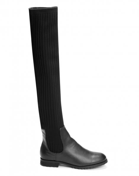 Amaro Feminino Bota Sock Boot Cano Longo, Preto