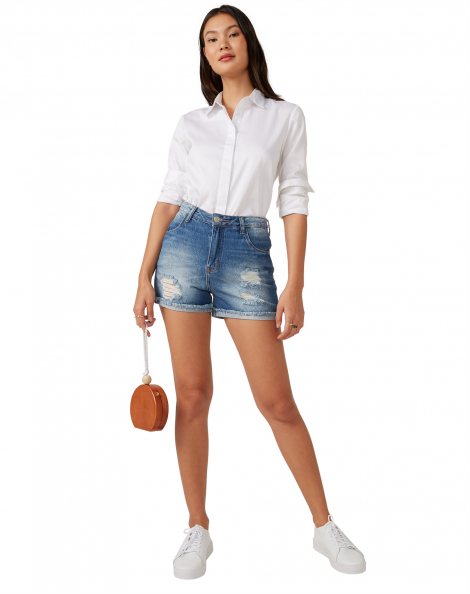 Amaro Feminino Shorts Jeans Cintura Alta Destroyed, Azul