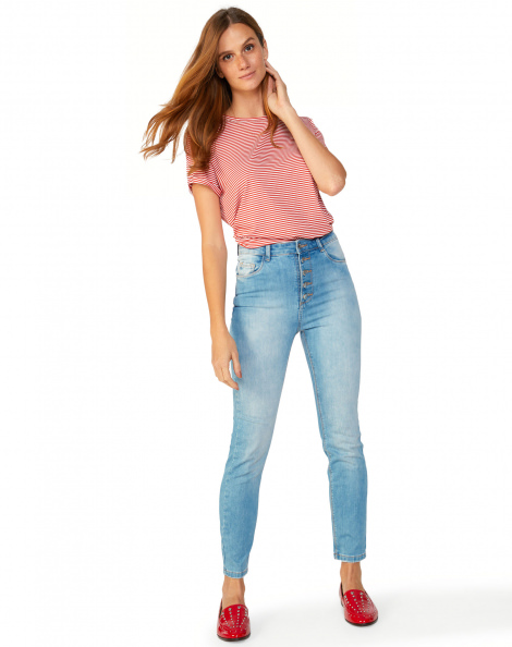 Amaro Feminino Calça Jeans Skinny Fecho Botões, Azul