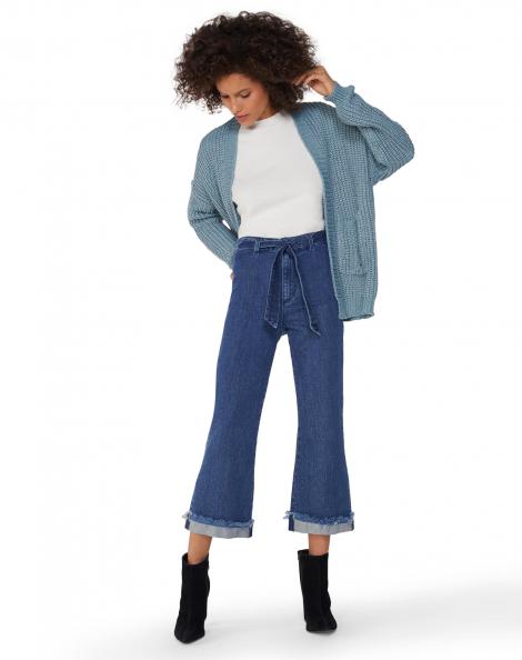 Amaro Feminino Calça Jeans Cropped Flare Amarração, Azul