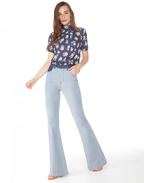 Amaro Feminino Calça Jeans Flare Ao Avesso, Azul