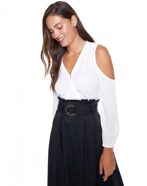 Amaro Feminino Blusa Transpassada Recortes, Branco