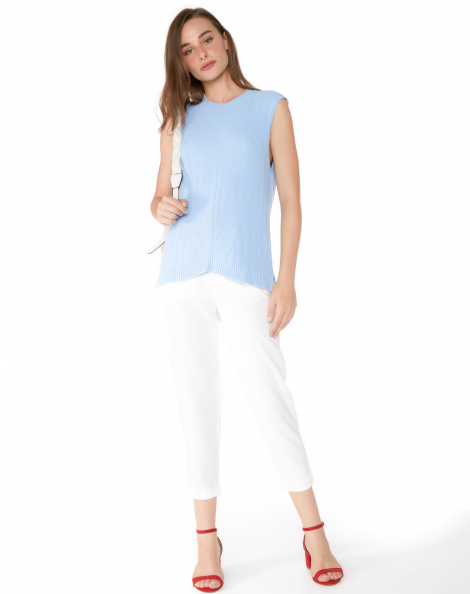 Amaro Feminino Calça De Alfaiataria Cintura Alta, Branco
