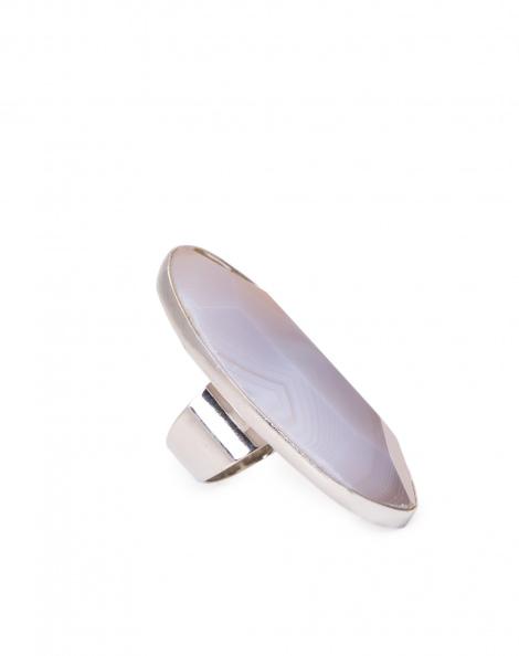 Amaro Feminino Anel Pedra Oval, Cinza